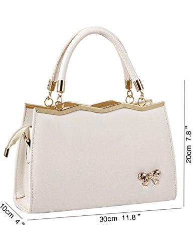 CUKKE Damen Handtasche Marken Handtaschen Elegant Taschen Shopper Reissverschluss Frauen Handtaschen Rose Cream