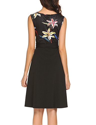 Flare Retro Pat3 Dress Line A Patchwork BURLADY Women's Floral Sleeveless Belt Fit q8wCWTS7