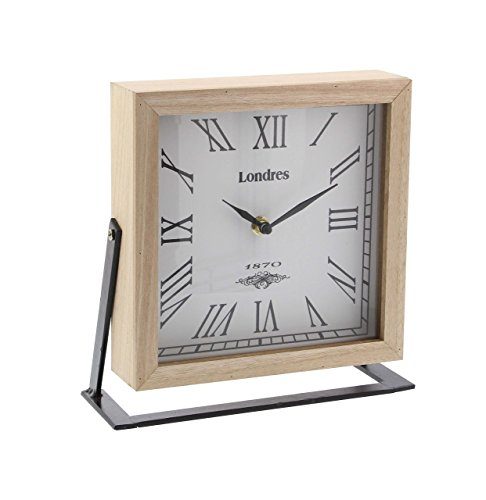 Deco 79 85255 Iron and Wood Square Table Clock, White/Lightbrown/Black