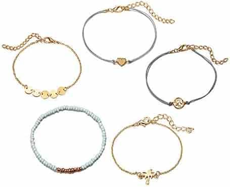 OWEGAI-80 Bracelet Crystal Bracelet Heart Flash Diamond Alloy Jewelry Foot Chains Birthday Gifts