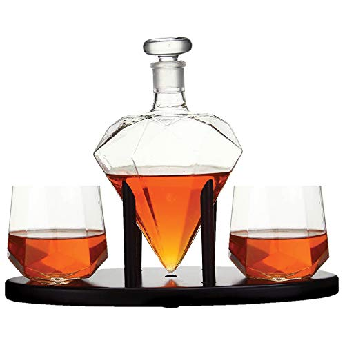 Diamond Whiskey Decanter With 2 Diamond Glasses & Mahogany Wooden Holder – Elegant Handcrafted Crafted Glass Decanter For Liquor, Scotch, Rum, Bourbon, Vodka, Tequila – Great Gift Idea – 750ml by RUGLUSH (Image #6)