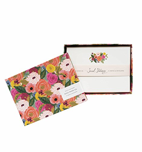 Juliet Rose Floral Social Stationery Flat Note Cards by Rifle Paper Co. -- Set of 12 Cards and Envelopes ()