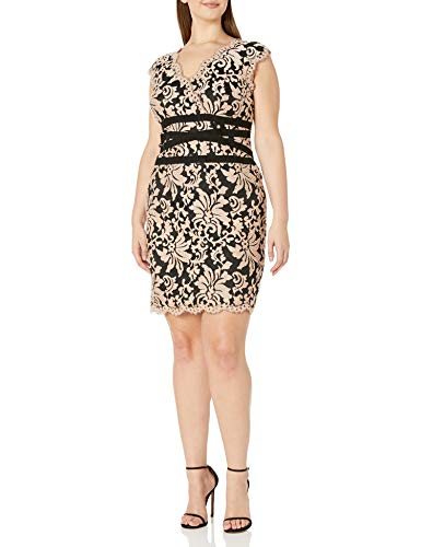 Tadashi Shoji Women's Size V-Neck Embroided Lace Dress with Banded Waist Detail-Plus, Ginseng/Black, 14W