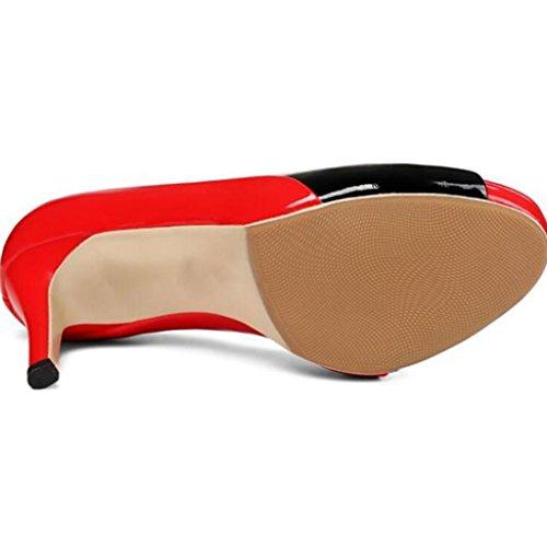 W&LM Sra Tacones altos Chanclas Boca de pescado Sandalias De acuerdo Parte inferior gruesa Sandalias Antideslizante Zapato White