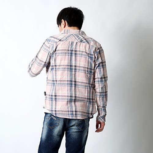 チェック シャツ メンズ 長袖 ゆったり 大きいサイズ インディゴ染 カジュアルシャツ 22-h734-rc