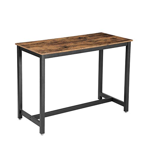 VASAGLE Industrial Dining Table, Bar Table with Solid Metal Frame, Multifunctional Desk for Dining Room or Living Room, Wood Look Accent Furniture ULBT91X