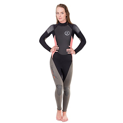 Seavenger 3mm Neoprene Wetsuit with Stretch Panels for Snorkeling, Scuba Diving, Surfing (Surfing Salmon, Women's 7) 3mm Full Wetsuit Diving Suits