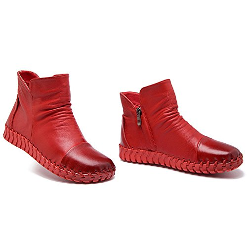 Round Casual BERTERI Handmade Shoes Head Women's Boots Red Leather New fXO0X