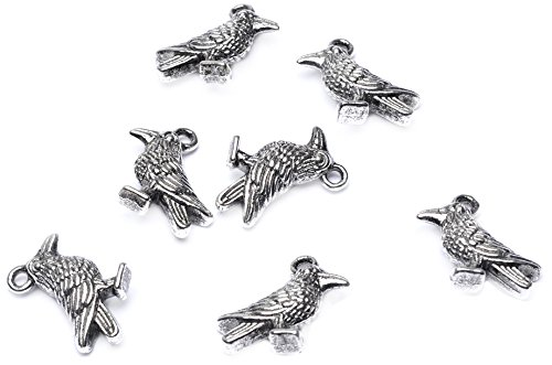 Beads Unlimited Crow Antique Silver Metal 14x18mm-Pack of 10