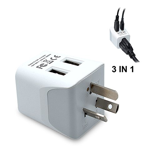 Ideal Standard White - Ceptics CTU-16 USA to Australia, New Zealand, China Travel Adapter Plug With Dual USB - Type I - Dual Inputs - Ultra Compact