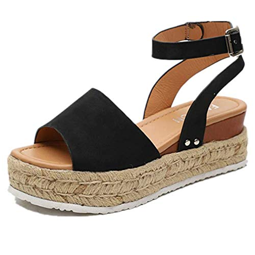 Buckle Toe Wedge Peep - Womens Casual Espadrilles Trim Rubber Sole Flatform Studded Wedge Buckle Ankle Strap Open Toe Sandals (Black,9 M US)