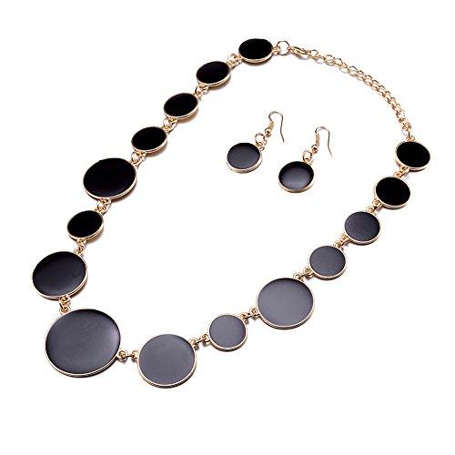 DiLiCa Women Statement Bib Necklace and Earring Set Girl Charm Costume Choker Novelty Enamel Jewelry Set Black (Black)]()
