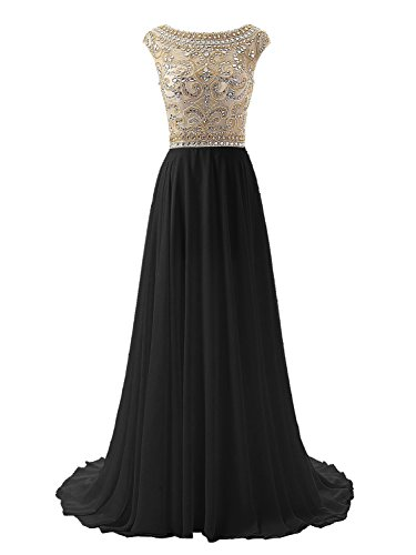 - Wedtrend Women's Floor Length Bridesmaid Beaded Bodice Prom Evening Dress WT10169Black16