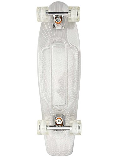 (Sunset Skateboards Ghost Complete Skateboard with White 59mm Cruiser Wheels, 27-Inch, Clear )