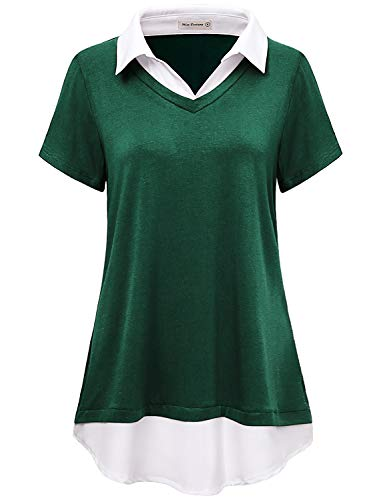 Miss Fortune Work Clothes for Women, Summer Tunic Blouses for Women Fashion 2019 Ladies Short Sleeve Splicing Tunic V Neck Fake 2 in 1 Collar Tops Petite Clothing,Small Dark Green