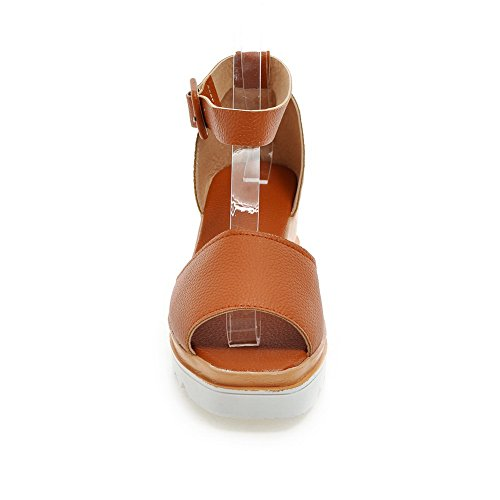 BalaMasa Womens Sandals Peep-Toe Fashion Urethane Sandals ASL04432 Brown Pw6V39