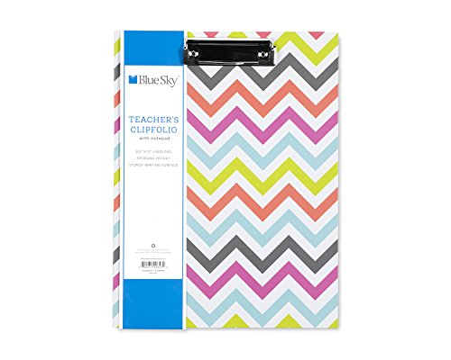 "Blue Sky Clipboard Folio, Letter Size Paper Writing Pad Included, Hard Cover, 9.5"" x 12"", Chevron Design"