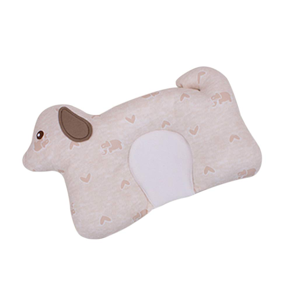Dear Tomorrow Baby Pillow - Preventing Flat Head Syndrome (Plagiocephaly) for Your Newborn Baby,Made of Memory Foam Head- Shaping Pillow and Neck Support (Khaki Dog)