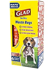 Glad for Pets Large Dog Waste Bags Value Pack | Scented, Tear-Resistant Dog Poop Bags for Fast and Easy Dog Waste Cleanup | 24 Rolls Waste Bags, 360 Count