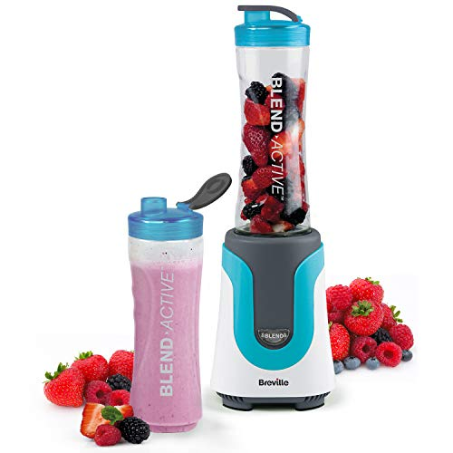 Breville Blend Active Personal Blender & Smoothie Maker with 2 Portable Blending Bottles (600ml), 300W, Blue [VBL136]