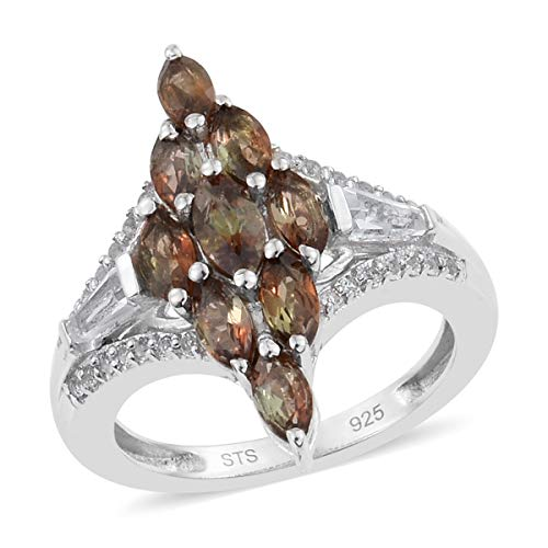 925 Sterling Silver Platinum Plated Andalusite White Topaz Ring for Women and Girls Size 7 Cttw 1.5 -