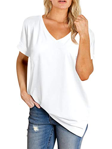 Amoretu Womens V Neck Shirts Cuffed Short Sleeve Tunic Tops for Summer(White,L)