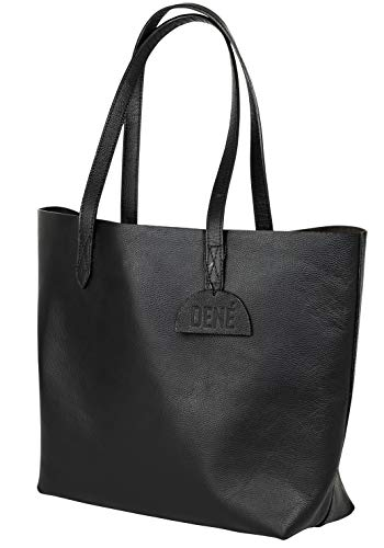 "Leather Tote Bag for Women. Made with Genuine Leather. This Extra Large Black Tote Bag Fits 15"" & 17"" Laptops"