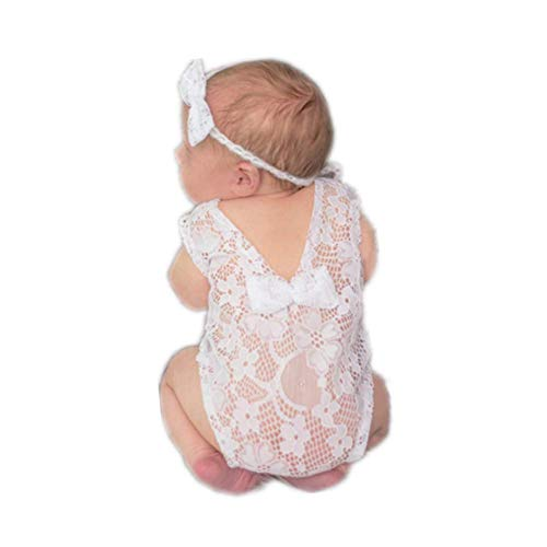 Newborn Infant Baby Photography Props Girls Lace Bow Vest Bodysuits Romper Photo Shoot Princess Clothes (White)