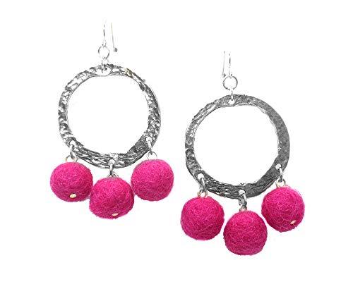 (Yochi Silvertone Colorful Designer High Fashion Popular Pom Pom Hoop Earrings (Fuschia))