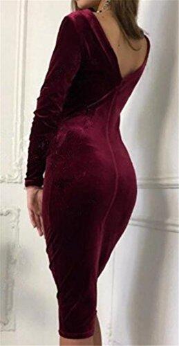 Cromoncent Femmes Manches Longues Moulante Dos Ouvert Club Sexy Robe De Bal Mi Vin Rouge