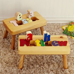 (Personalized Name Puzzle Stool 1-12 Letters- Natural Stool, Primary Letters (1 Name Only))