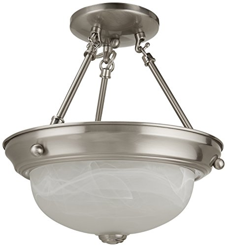 Nuvo Lighting 60/3184 Two Light Interior Home Package Semi-Flush with Alabaster Glass, Brushed Nickel, (Energy Star Convertible Ceiling Light)