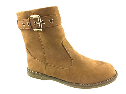 ZIP SIZE 9 SEITE FLEECE GEFÜTTERTE SUEDE UK LADIES 3 MICRO FLAT TAN ANKLE WINTERSTIEFEL HTnwv8q