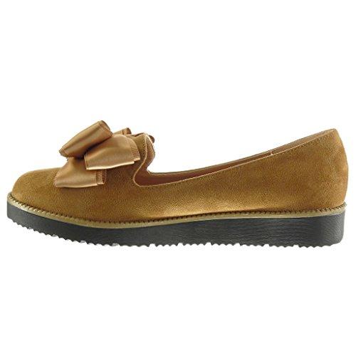 Angkorly - damen Schuhe Mokassin - Slip-On - fliege - Schmuck Keilabsatz 2.5 CM Camel