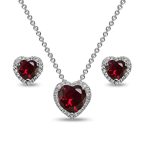 Sterling Silver Created Ruby and CZ Halo Heart Pendant Necklace & Stud Earrings Set