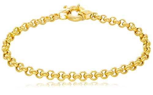 Solid Gold 14K Rolo Chain Bracelet with Fancy Clasp Made in Italy 5.4mm Wide by 7