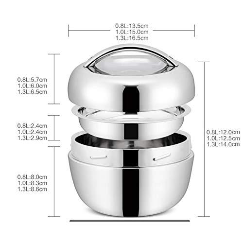 argent/é Milopon Lunchbox Bo/îte /à repas isotherme double couche en acier inoxydable Bo/îte /à pain Bo/îte /à d/éjeuner Bo/îte de proviation Bo/îte de conservation 1300ml
