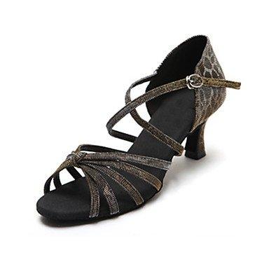 Donna Shoes Salsa basso Quietness raso tacchi Latin Dance da grigio Grey ballo viola pratica scarpe satin tacco in qEpxfxd