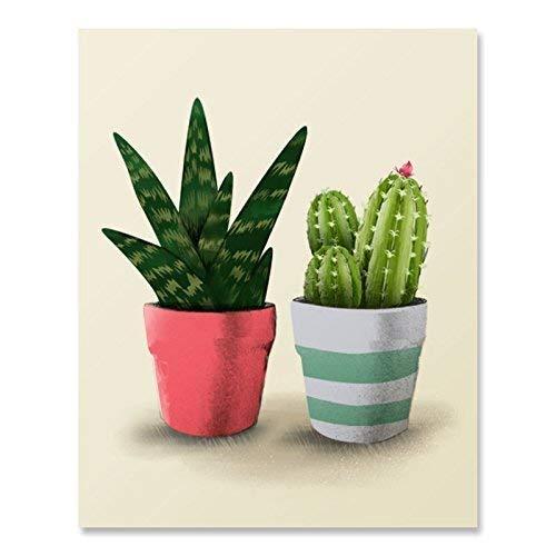 Succulent Cactus Print Cactus Plant Wall Art Gift For Gardener Green Botanical Garden Wall Decor 8 x 10 Small Plants Art Summerhouse Prints Interior Design Home Decor ()