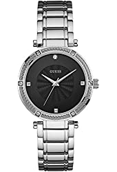 GUESS Silver-Tone Modern Classic Watch with Diamonds
