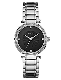 GUESS Women's Silver-Tone Modern Classic Watch with Diamonds U0695L1
