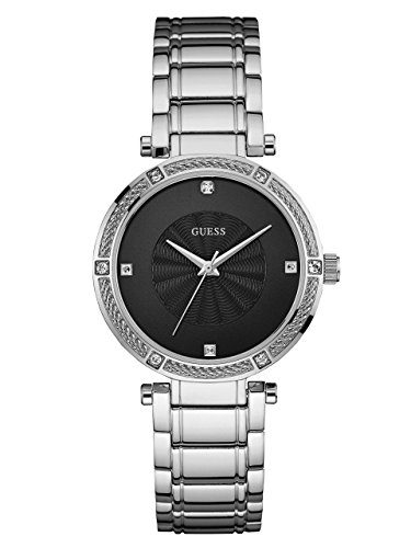 Diamond Silver Tone Watch - GUESS Women's Stainless Steel Diamond Dress Watch, Color: Silver-Tone (Model:U0695L1)