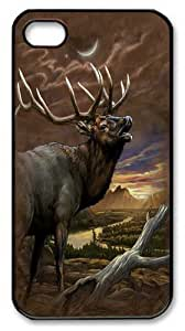 Elk At Dust PC Case Cover for iPhone 4 and iPhone 4s Black