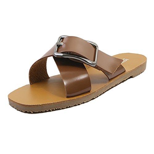 KJJDE Mujer Zapatos Planos Vendaje XYM-555-1 Hebilla De Cinturón De Personalidad Peep-Toe Planas Chanclas Sandalias Romanas Casuales Zapatos De Playa brown