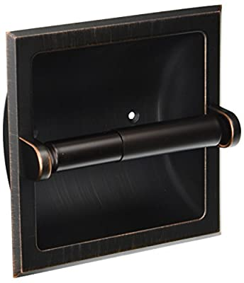 Designers Impressions Recessed Toilet / Tissue Paper Holder All Metal Contruction - Mounting Bracket Included - Variation