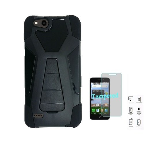 Phone Case for ZTE AVID 557 (Consumer Cellular) Hybrid Cover Case with Kickstand + Tempered Glass Screen Protector (Black)