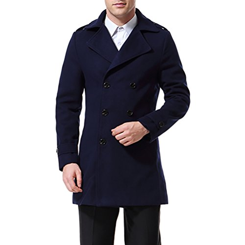 Men's Trenchcoat Double Breasted Overcoat Pea Coat Classic Wool Blend Slim Fit Navy Blue