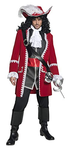 Smiffys Men's Authentic Pirate Captain Costume, Jacket, pants, Top attached belt and Cravat, Pirate, Serious Fun, Size M, 36174 -