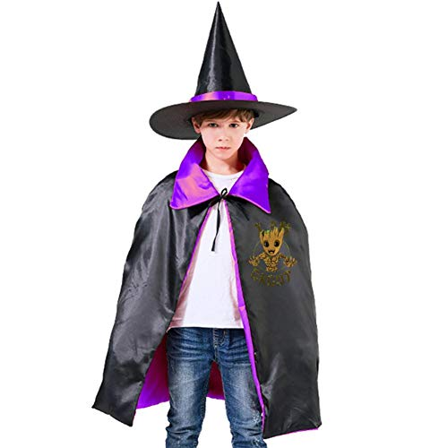 Yuqickng Li I AM G-Root Kids Reversible Halloween Cloak Cape Costume with Witch Hat Purple -