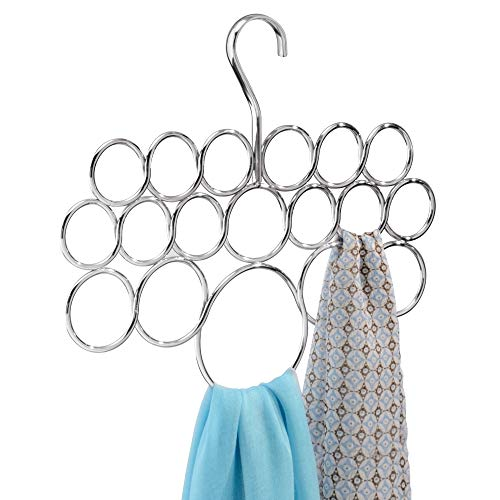 InterDesign Axis Metal Loop Scarf Hanger, No Snag Closet Organization Storage Holder for Scarves, Men's Ties, Women's Shawls, Pashminas, Belts, Accessories, Clothes, 18 Compartments, Chrome
